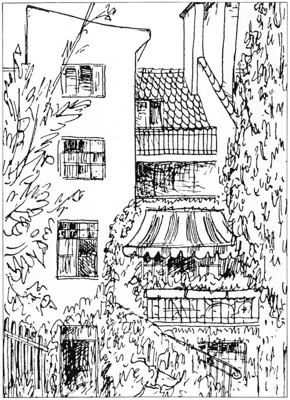 Ernst Penzoldt Tuschzeichnung ca. 1922  Gartenansicht des Heimeran-Hauses